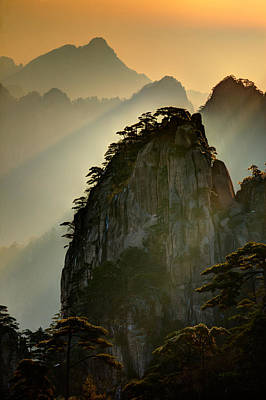 Anhui Photograph - Sunset Huangshan Mountain by Eggers Photography