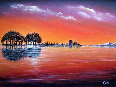 Wall Art - Painting - Sunset Illusion by Lisa Cini