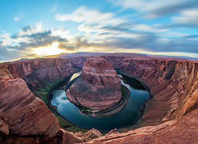 Horseshoe Bend Photograph - Sunset Image Overlooking The Colorado River At Horseshoe Bend. L by Ryan Kelehar