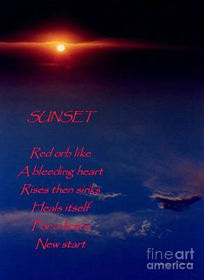 Photograph - Sunset Image With Poetry by Jean Clarke