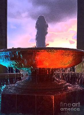 Photograph - Sunset In A Fountain Basin by Barbie Corbett-Newmin