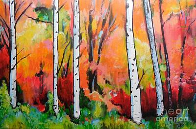 Painting - Sunset In An Aspen Grove by Cami Lee