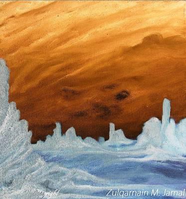 Sunset In An Ice Land Art Print by Zulqarnain Jamal