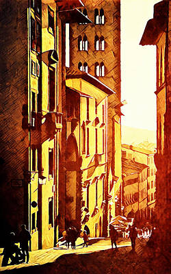 Digital Art - Sunset In Arezzo by Andrea Barbieri