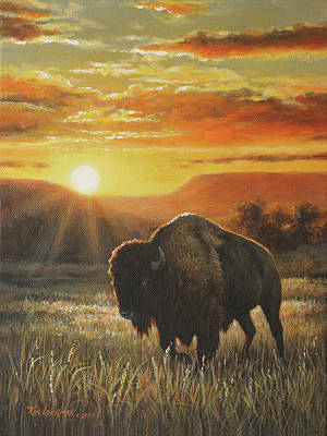 Art Print featuring the painting Sunset In Bison Country by Kim Lockman
