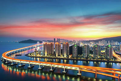 Photograph - Sunset In Busan City With Building by Anek Suwannaphoom