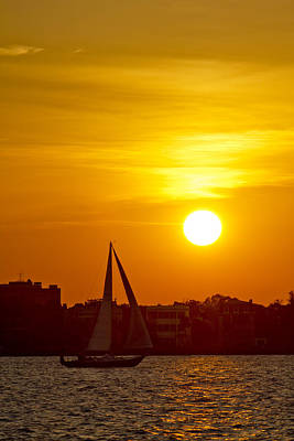 Sunset In Charleston South Carolina Sailboat Print by Dustin K Ryan