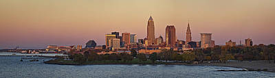 Usa Photograph - Sunset In Cleveland Skyline Panorama by Marcia Colelli