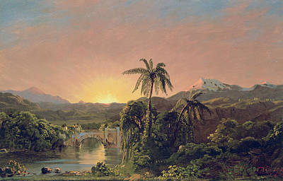 Rainforest Painting - Sunset In Equador by Frederic Edwin Church