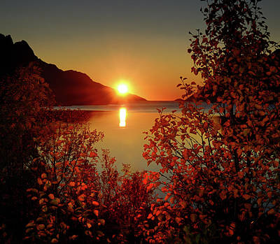 Lens Photograph - Sunset In Ersfjordbotn by John Hemmingsen