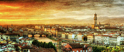 Photograph - Sunset In Florence Duet 1 - Ponte Vecchio And Palazzo Vecchio - Vintage Version by Weston Westmoreland