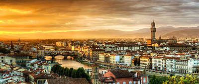 Photograph - Sunset In Florence Duet 1 - Ponte Vecchio And Palazzo Vecchio by Weston Westmoreland