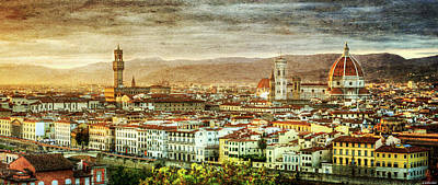 Photograph - Sunset In Florence Duet 2 - Palazzo Vecchio And Duomo - Vintage Version by Weston Westmoreland