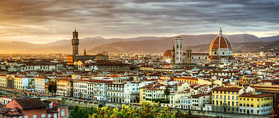 Photograph - Sunset In Florence Duet 2 - Palazzo Vecchio And Duomo by Weston Westmoreland