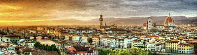 Digital Art - Sunset In Florence - Painting by Weston Westmoreland