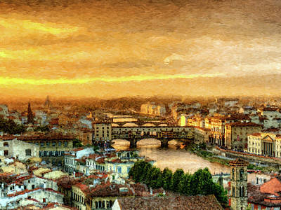 Digital Art - Sunset In Florence Triptych 1 - Ponte Vecchio - Painting by Weston Westmoreland