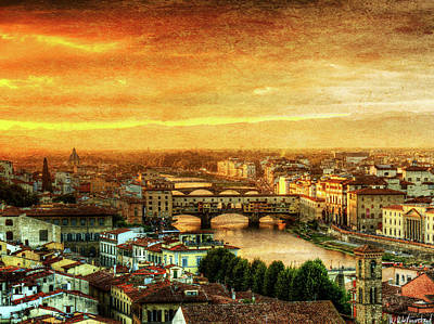 Photograph - Sunset In Florence Triptych 1 - Ponte Vecchio - Vintage Version by Weston Westmoreland