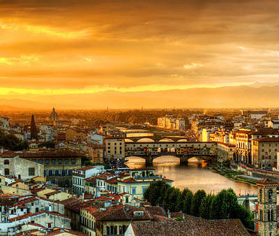 Photograph - Sunset In Florence Triptych 1 - Ponte Vecchio by Weston Westmoreland