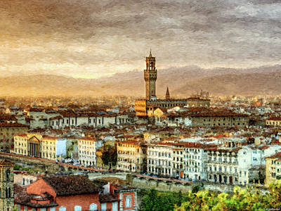 Digital Art - Sunset In Florence Triptych 2 - Palazzo Vecchio - Painting by Weston Westmoreland
