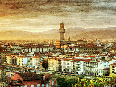 Photograph - Sunset In Florence Triptych 2 - Palazzo Vecchio - Vintage Version by Weston Westmoreland