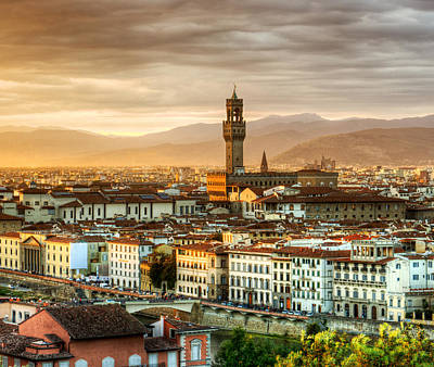 Photograph - Sunset In Florence Triptych 2 - Palazzo Vecchio by Weston Westmoreland