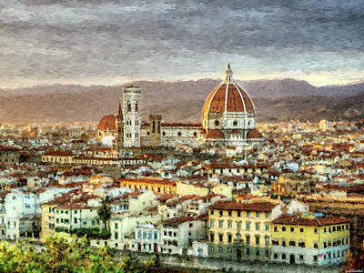 Digital Art - Sunset In Florence Triptych 3 - Duomo - Painting by Weston Westmoreland