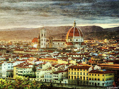 Photograph - Sunset In Florence Triptych 3 - Duomo - Vintage Version by Weston Westmoreland