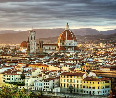 Photograph - Sunset In Florence Triptych 3 - Duomo by Weston Westmoreland