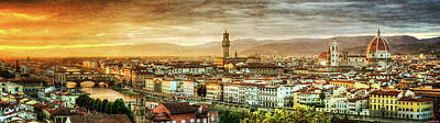 Photograph - Sunset In Florence - Vintage Version by Weston Westmoreland