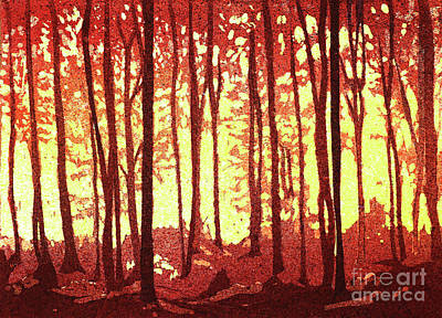Painting - Sunset In Forest by Ryan Fox