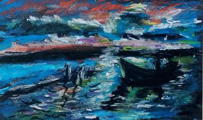 Sunset Abstract Drawing - Sunset In French Riviera by Tamara Vitsenkova
