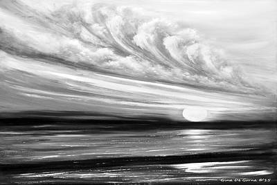 Painting - Sunset In Gray Black And White - Seasccape by Gina De Gorna