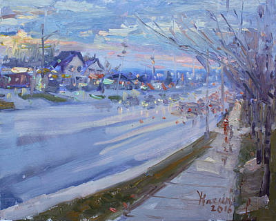Georgetown Wall Art - Painting - Sunset In Guelph St Georgetown On by Ylli Haruni