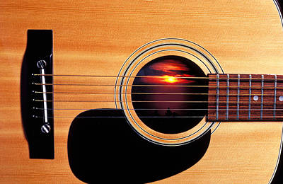 Sunset In Guitar Art Print