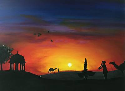 Sunset In Jaisalmer 2  Original by Aarti Bartake