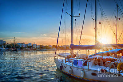 Harbor Scene Wall Art - Photograph - Sunset In Kos by Delphimages Photo Creations