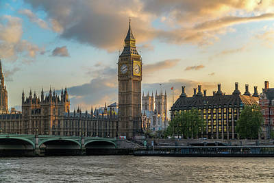 Big Ben Wall Art - Photograph - Sunset In London Westminster by James Udall
