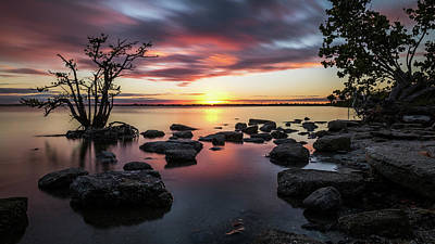 Sunset In Merritt Island - Florida, United States - Seascape Photography Art Print by Giuseppe Milo