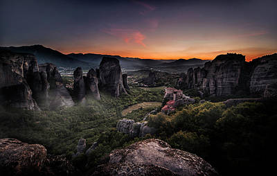 Photograph - Sunset In Meteora by Jaroslaw Blaminsky
