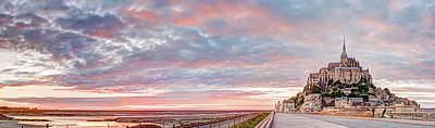Photograph - Sunset In Mont Saint Michel Panorama by Weston Westmoreland