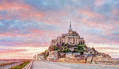 Digital Art - Sunset In Mont Saint Michel by Weston Westmoreland
