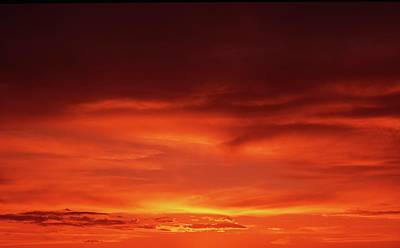 Art Print featuring the photograph Sunset In Orange by Edward R Wisell