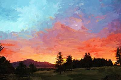 Sunset In Oregon Art Print
