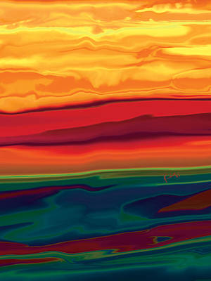 Art Print featuring the digital art Sunset In Ottawa Valley 1 by Rabi Khan