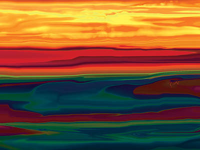 Art Print featuring the digital art Sunset In Ottawa Valley by Rabi Khan