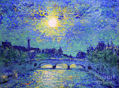 Landmarks Painting Royalty Free Images - Sunset in Paris, France Royalty-Free Image by Denys Kuvaiev