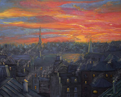 Paris Skyline Royalty-Free and Rights-Managed Images - Sunset In Paris Painting by Ken Figurski