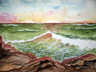 Art Print featuring the painting Sunset In Pink by Carol Grimes