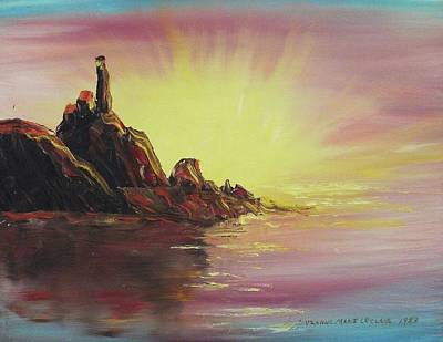 Suzanne Marie Leclair Painting - Sunset In Rocks by Suzanne  Marie Leclair