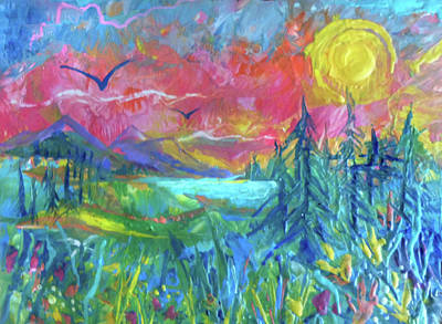 Painting - Sunset In Rose by Jean Batzell Fitzgerald